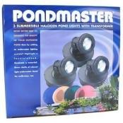 Pondmaster 3 Submersible Halogen Pond Lights with Transformer: 3 Ligh