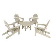 Polywood 5-Piece Adirondack Conversation Furniture Set - Beige