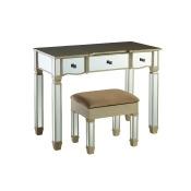 Genevieve Vanity Mirror & Storage Bench Mirrored - Powell Company, White