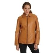 Women's Excelled Leather Scuba Jacket, Size: Medium, Beig/Green (Beig/Khaki)