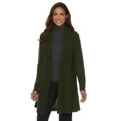 Women's Dana Buchman Pleated Open-Work Cardigan Sweater, Size: Large, Med Green