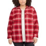 Plus Size Chaps Plaid Flannel Jacket, Women's, Size: 3XL, Red