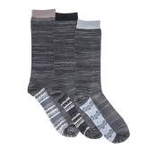 MUK LUKS Men's 3-Pack Marled Socks Grey Socks One Size