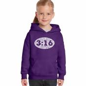 LA Pop Art Girl's Word Art Hooded Sweatshirt - John 3:16 - Purple, L