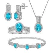 Womens 4-pc. Blue Blue Topaz Silver Over Brass Jewelry Set, 7