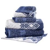 Pacific Coast Textiles Allure 6 Piece Reversible Popcorn Diamond Towel Set Indigo