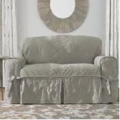 Sure Fit Matelasse Damask 1-pc Loveseat & Sofa Slipcover Linen 74