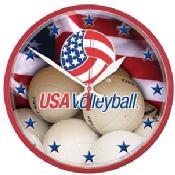 "USA Volleyball  12"" Round Wall Clock"