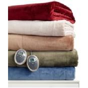 Slumber Rest Velvet Plush Heated Twin Blanket Bedding